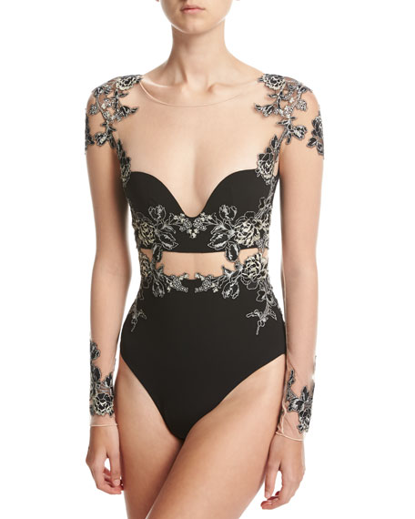 Wedding - Peony Floral-Embroidered Long-Sleeve Bodysuit, Black