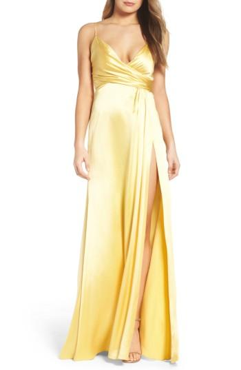 Wedding - Jill Jill Stuart Faux Wrap Satin Gown