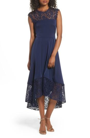 Wedding - Shoshanna Allachie Lace & Crepe High/Low Midi Dress