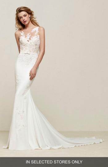 Wedding - Pronovias Drenoa Lace Illusion Mermaid Gown (In Selected Stores Only)