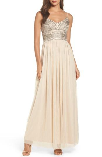 Wedding - Adrianna Papell Beaded Bodice Mesh Gown