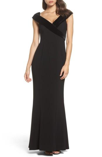 Wedding - Vince Camuto Velvet Portrait Collar Crepe Gown