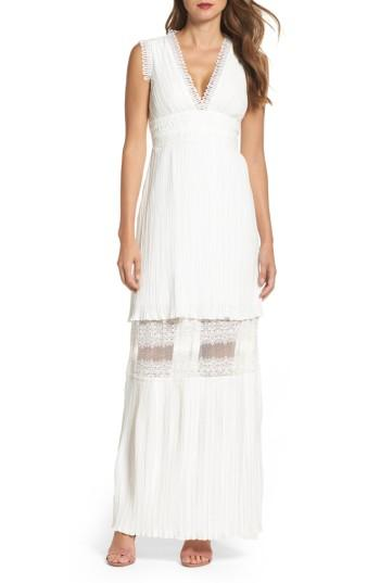 Wedding - Foxiedox Jasmine Lace Inset Pleated Dress
