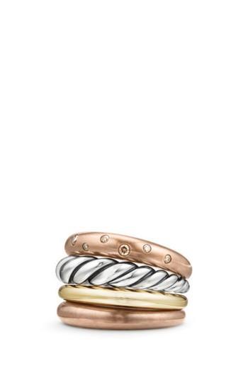 Hochzeit - David Yurman Pure Form Mixed Metal Four-Row Ring with Diamonds, Bronze & Silver, 17.5mm