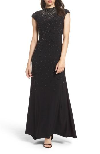 Wedding - Eliza J Embellished Mock Neck Gown