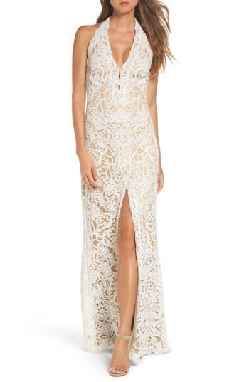 Wedding - Tadashi Shoji Lace Front Slit Halter Gown