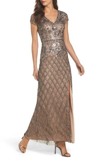 Wedding - Adrianna Papell Beaded V-Neck Mesh Gown