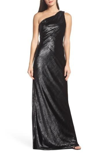 Wedding - Maria Bianca Nero Stelle Metallic Velvet One-Shoulder Gown