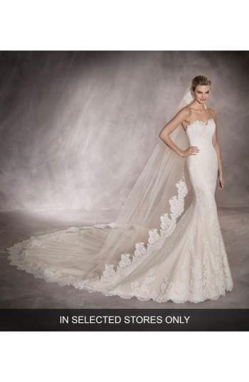 Mariage - Pronovias Princia Strapless Lace Mermaid Gown