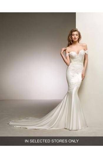 Mariage - Pronovias Dante Off the Shoulder Sweetheart Satin Mermaid Gown