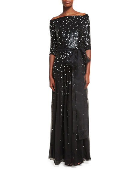Wedding - Off-the-Shoulder Dot-Sequined Chiffon Gown