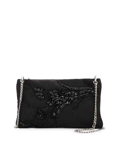 Свадьба - Nylon Beaded Chain Shoulder Bag, Black (Nero)