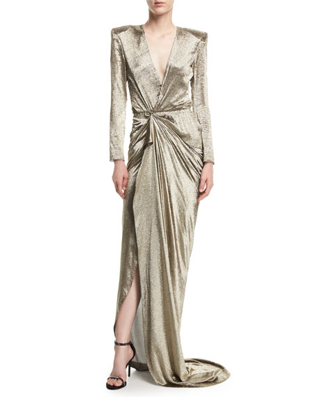 Hochzeit - Long-Sleeve Wrap-Front Metallic Gown