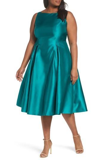 Adrianna Papell Sleeveless Mikado Fit & Flare Midi Dress (Plus Size ...