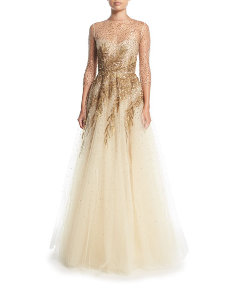 Wedding - High-Neck Illusion Tulle Evening Gown w/ Sequin Detail