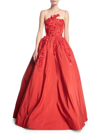 Wedding - Sleeveless Illusion-Neck Evening Ball Gown w/ Floral Appliques