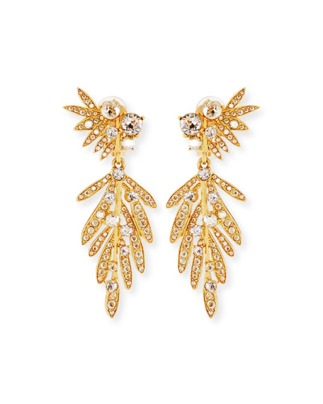 Wedding - Tropical Palm Crystal Clip-On Earrings