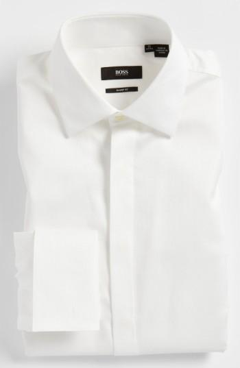 Wedding - BOSS 'Marlyn' Sharp Fit Stripe French Cuff Tuxedo Shirt
