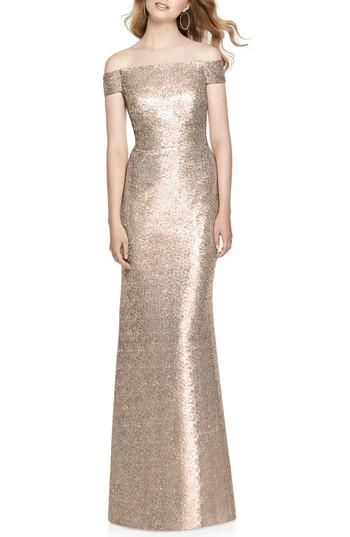 Mariage - Dessy Collection Sequin Off the Shoulder Gown