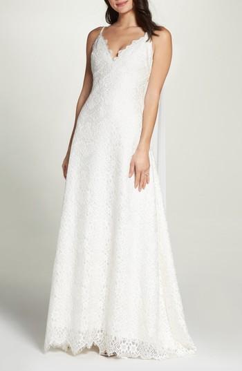 Wedding - Foxiedox Chiffon Sash Scalloped Lace Gown