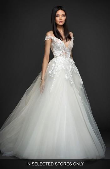 Mariage - Lazaro Off the Shoulder Sparkle Ballgown