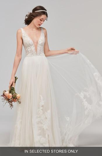 زفاف - Willowby Philomena Deep V-Neck Tulle Gown
