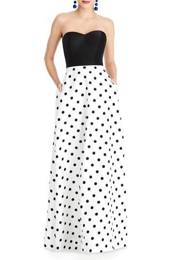 Wedding - Alfred Sung Strapless Dot Block Sateen Gown