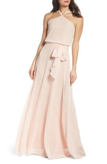 Wedding - nouvelle AMSALE Halter Neck Chiffon Blouson Gown