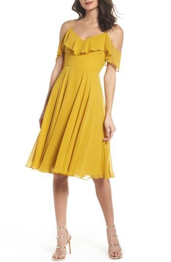 Wedding - Jenny Yoo Kelli Cold Shoulder Chiffon Dress