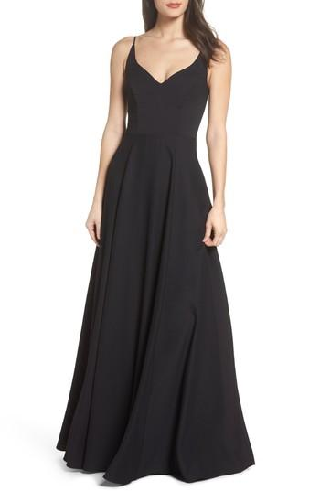 Wedding - Hayley Paige Occasions Cutout Crepe A-Line Gown