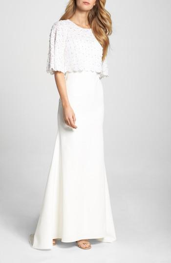 Свадьба - Lotus Threads Elbow Sleeve Lace Overlay Gown