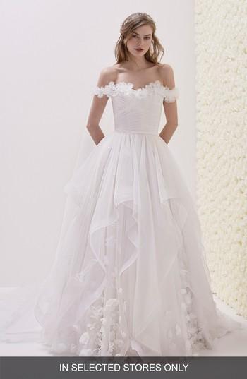 Mariage - Pronovias Elodia Off the Shoulder Ballgown