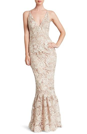 Mariage - Dress the Population Sophia Crochet Lace Mermaid Gown