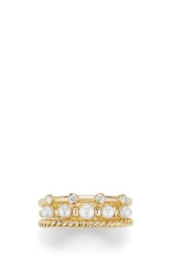Свадьба - David Yurman Petite Perle Narrow Multi Row Ring with Pearls and Diamonds