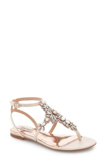 Wedding - Badgley Mischka 'Cara' Crystal Embellished Flat Sandal (Women)