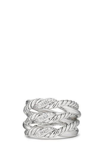Hochzeit - David Yurman Continuance® 3-Row Ring with Diamonds