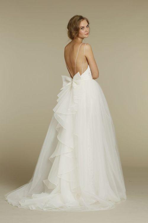 Wedding - White Backless White Lace Enhanced Dress