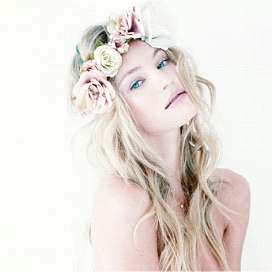 Loose Curly Hairstyle With Flower Crown Simple And