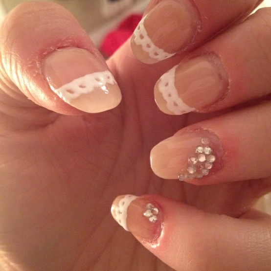 Easy And Beautiful Lace Wedding Nail Art Design With Rhinestones