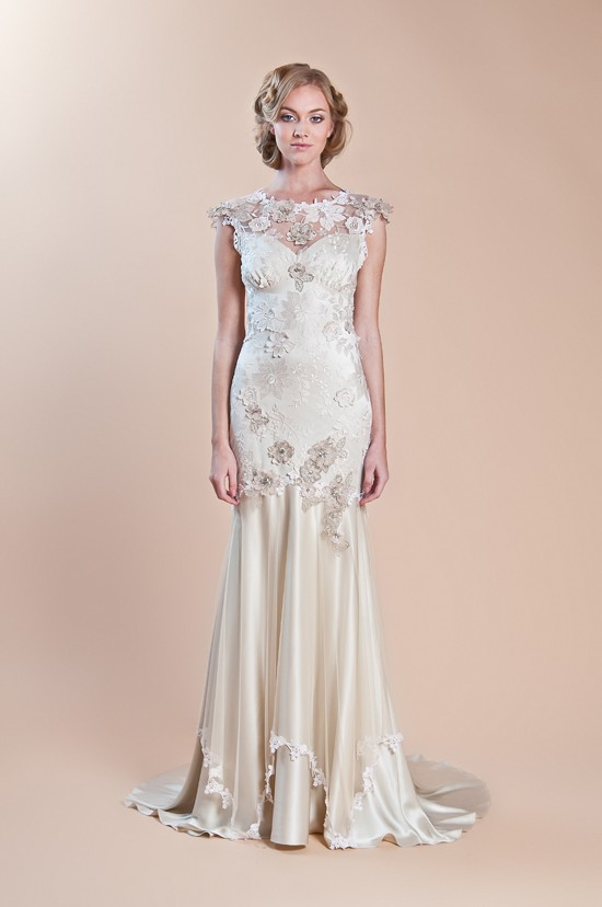 Wedding - Embroidered Wedding Dress ♥ Claire Pettibone Silk Mermaid Wedding Dress