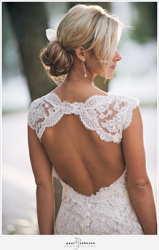 Monique Lhuillier Scarlet French Lace Open Back Wedding ...