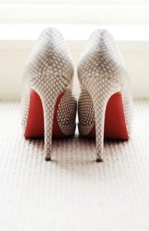 image of Christian Louboutin Wedding Shoes with Red Bottom ♥ Chic and Fashionable Wedding High Heel Shoes
