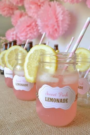 image of Homemade Pink Wedding Lemonade