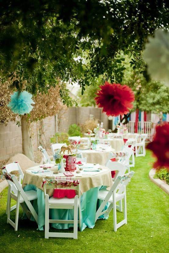 Tiffany blue red paper pom poms garden wedding party for Backyard engagement party decoration ideas