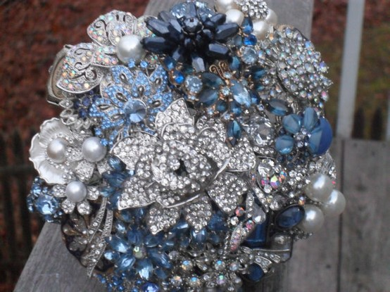 image of Vintage Wedding Bouquet ♥ Handmade Custom Vintage Brooch Wedding Bouquet