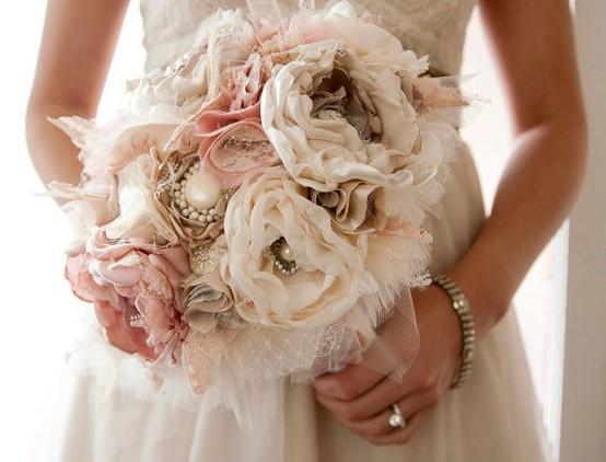 Hochzeit - Vintage Wedding Bouquet ♥ Handmade Fabric Flower Brautstrauß.