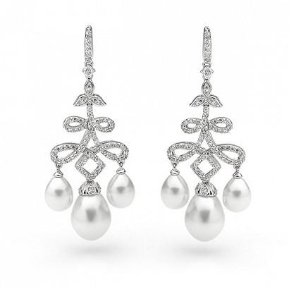 Wedding - Georgini White Pearl Earring ♥ Designer Bridal Jewelry