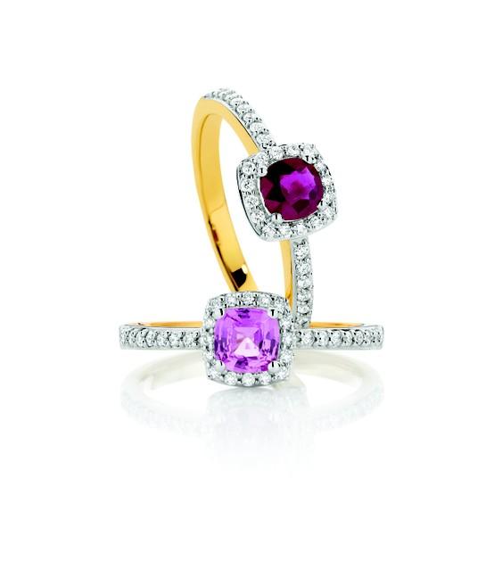 Mariage - Améthyste et diamants Bague en or ♥ Magnifique