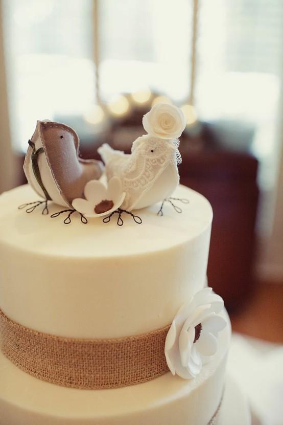 Burlap Bird Cake Topper
