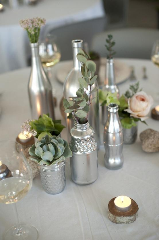 Diy diy projects 889934 weddbook for Painted wine bottle wedding centerpieces